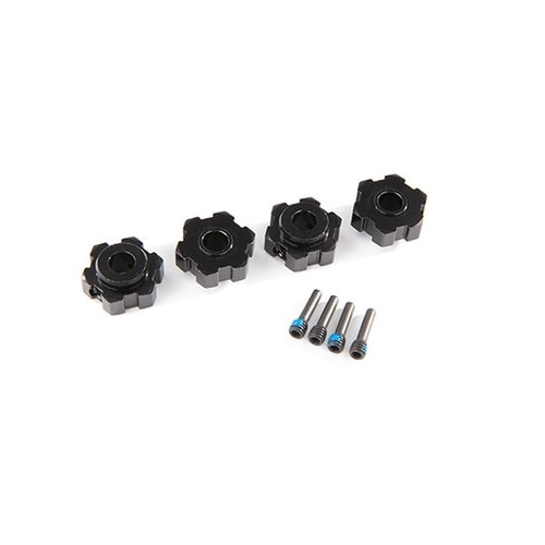 AX8956A WHEEL HUBS, HEX, ALUMINUM, (BLACK-ANODIZED) (4)/ 4X13MM SCREW PINS (4)
