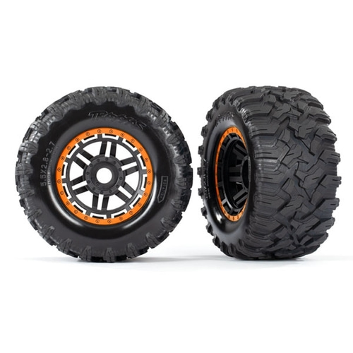 AX8972T Tires & wheels, assembled, glued (black, orange beadlock style wheels, Maxx® MT tires, foam inserts) (2) (17mm splined) (TSM® rated)