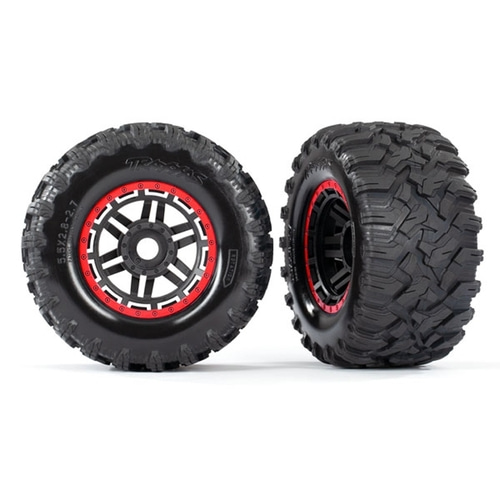 AX8972R Tires & wheels, assembled, glued (black, red beadlock style wheels, Maxx® MT tires, foam inserts) (2) (17mm splined) (TSM® rated)
