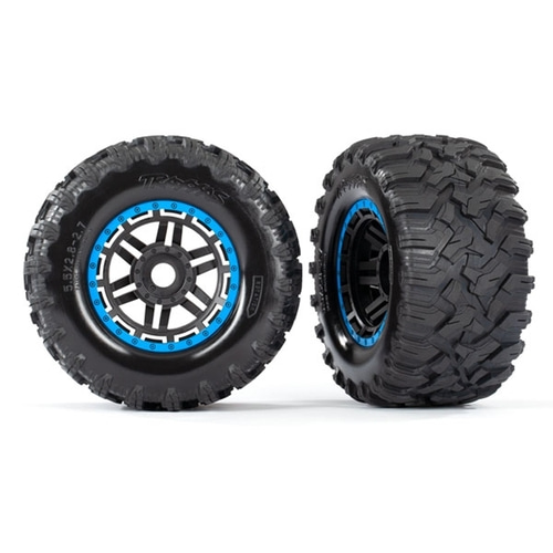 AX8972A Tires & wheels, assembled, glued (black, blue beadlock style wheels, Maxx® MT tires, foam inserts) (2) (17mm splined) (TSM® rated)