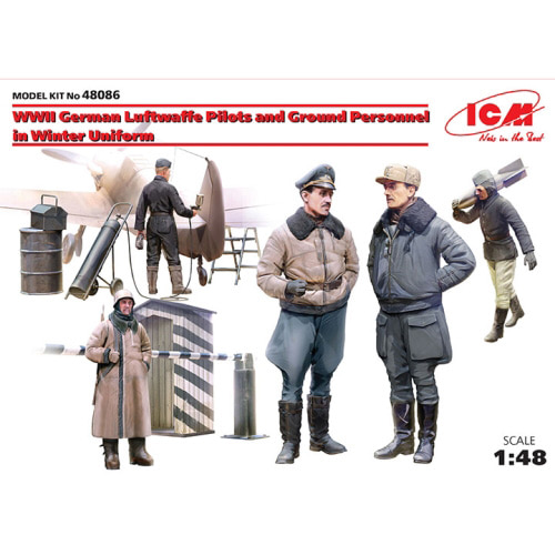 BICM48086 1/48 WWII German Luftwaffe Pilots and Ground Personnel in Winter Uniform