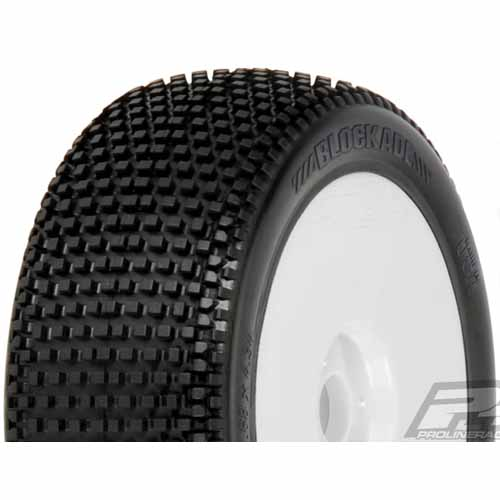 [프로라인특가세일 !]**AP9039-032 Blockade X2 (Medium) Off-Road 1:8 Buggy Tires Mounted for Front or Rear, Mounted on Velocity V2 White Wheels