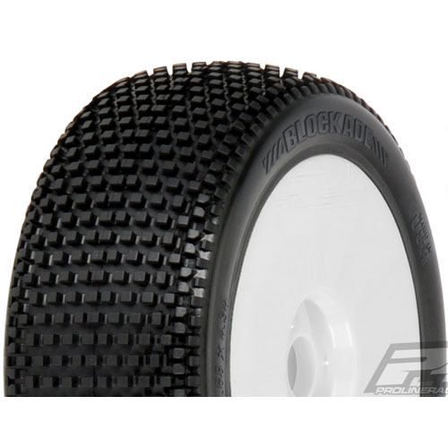 [프로라인특가세일 !]**AP9039-033 Blockade X3 (Soft) Off-Road 1:8 Buggy Tires Mounted for Front or Rear, Mounted on Velocity V2 White Wheels